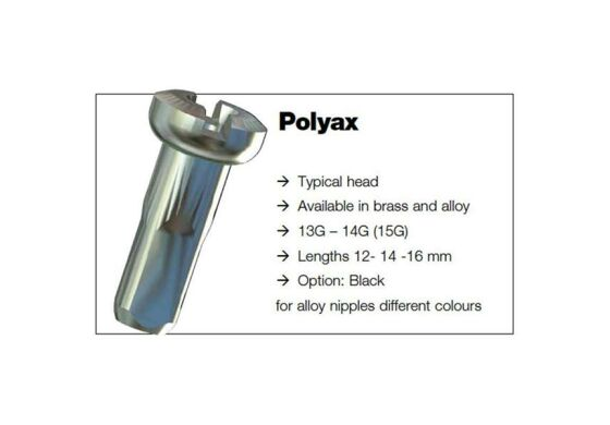 Sapim Polyax Messing Brass Nippel 2mm 12mm SILS Silber