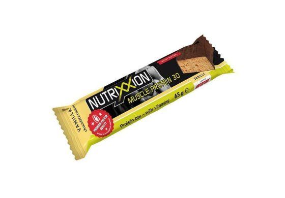 NUTRIXXION Proteinriegel Mit 30 % hochwertigem Eiweiß. Karton à 20 Stück (je 65 g) . Anwendungsmöglichkeiten: Vor, während und nach der Belastung.
