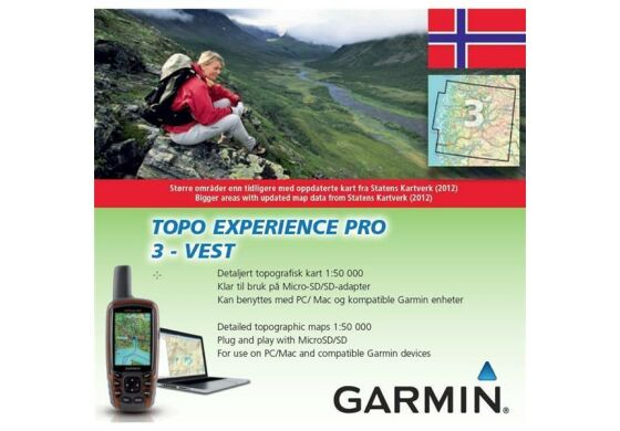 Garmin GPS Karte Topo Experience Pro 3 Vest - Norwegen