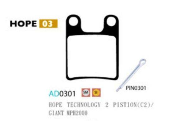Ashima Bremsbeläge Semi Metal für Hope Technology 2 Piston C2 Set mit 4 Belägen