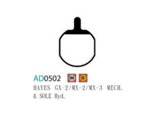 Ashima Bremsbeläge Semi Metal für Hayes GX-2 / MX-2 / MX-3 Set mit 4 Belägen
