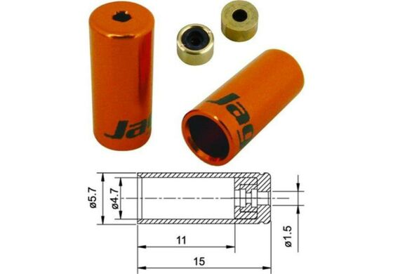 Jagwire Endhülsen für Aussenhülle Schalthülle orange 4,5mm