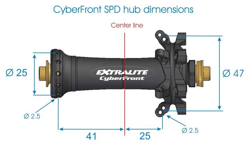 Mit nur 69g ist die Cyberfront von Extralite die leichteste Vorderrad Nabe  für Rennräder mit Scheibenbremsen